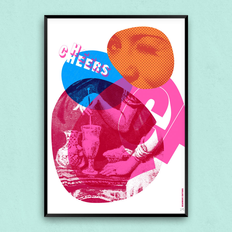 Cheers! A quirky cocktail screenprint/art print.